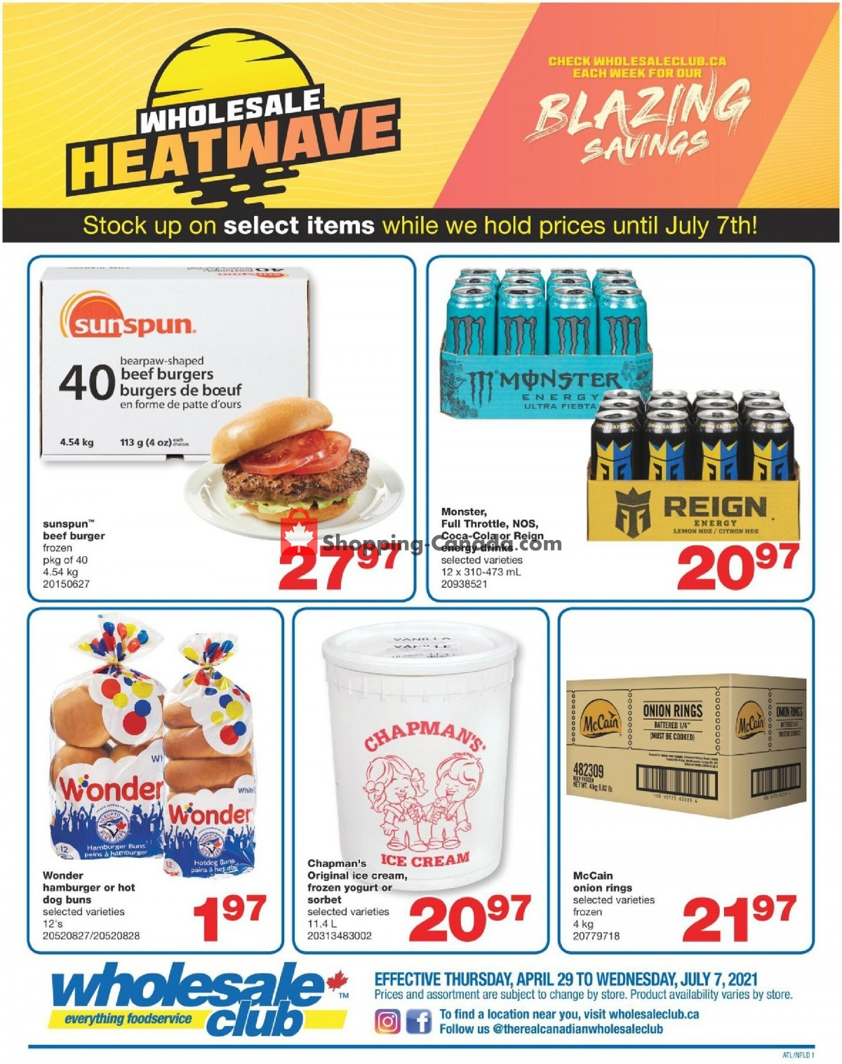Flyer Wholesale Club Canada - from Thursday April 29, 2021 to Wednesday July 7, 2021
