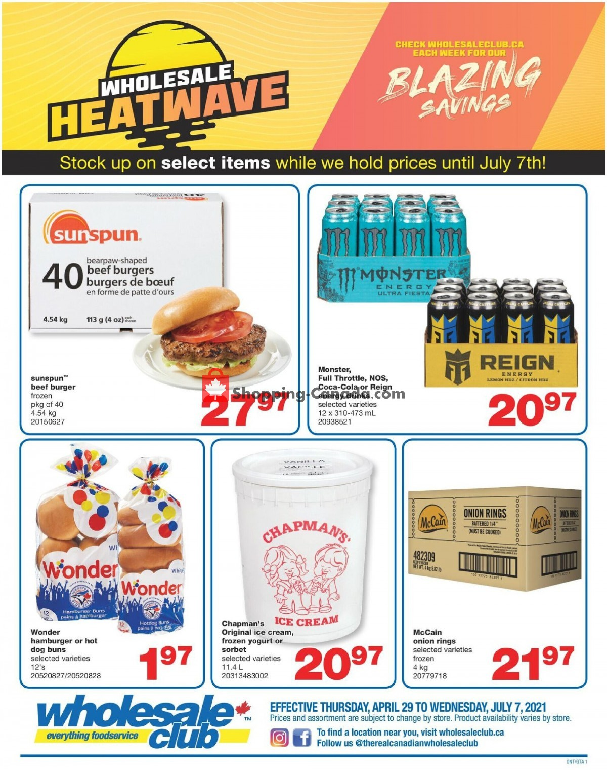 Flyer Wholesale Club Canada - from Thursday April 29, 2021 to Tuesday July 27, 2021