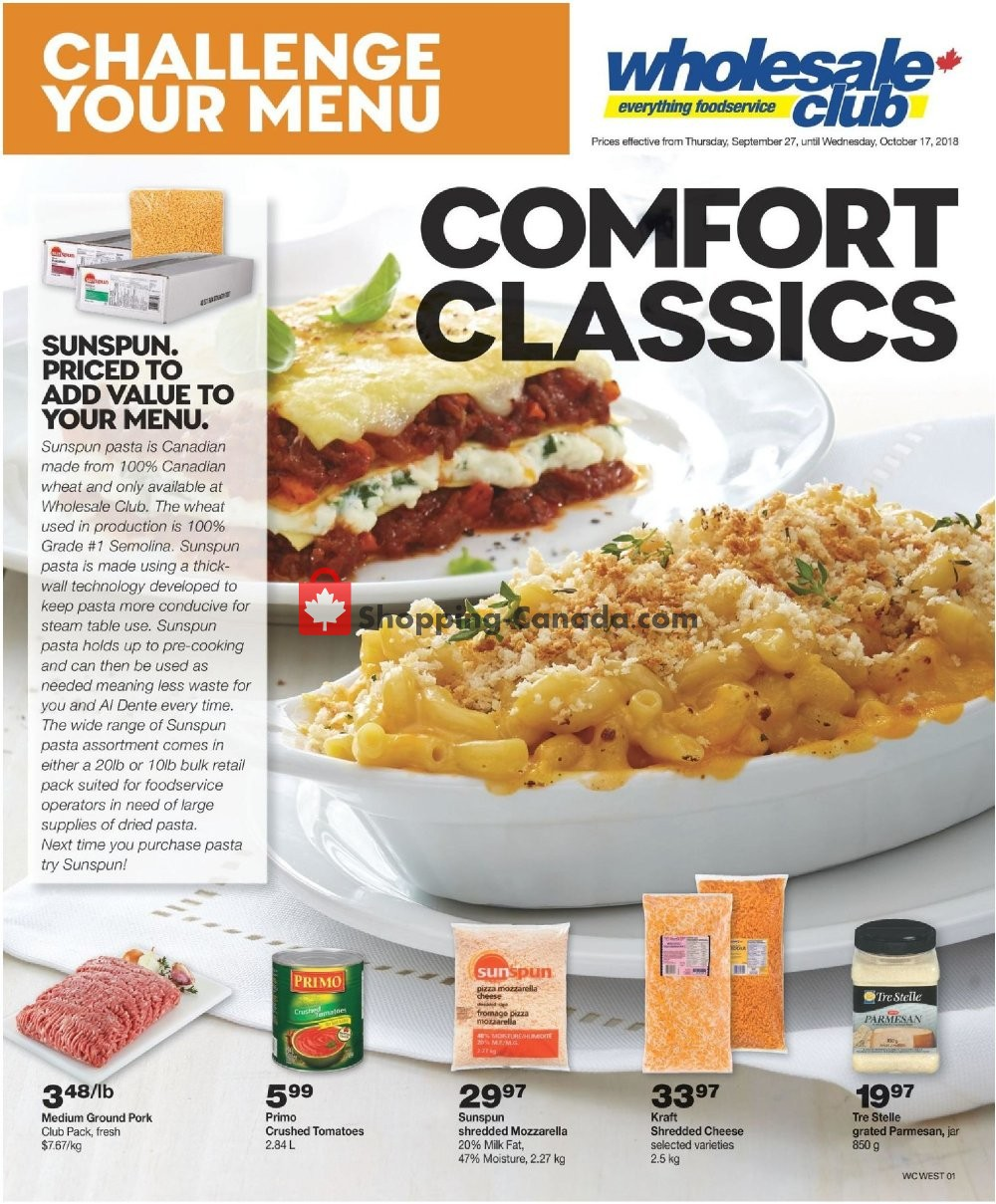 Flyer Wholesale Club Canada - from Thursday September 27, 2018 to Monday October 1, 2018