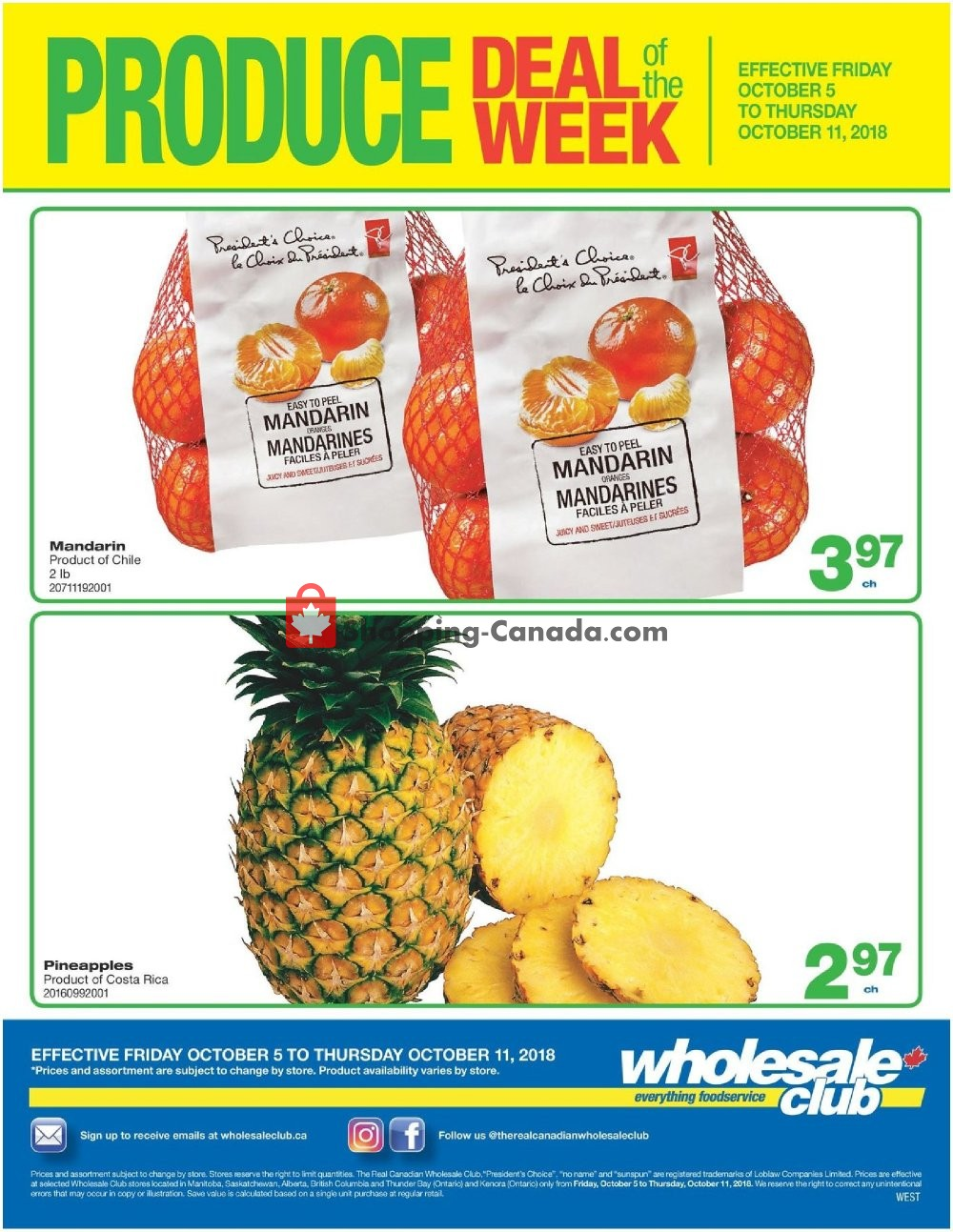 Flyer Wholesale Club Canada - from Friday October 5, 2018 to Thursday October 11, 2018