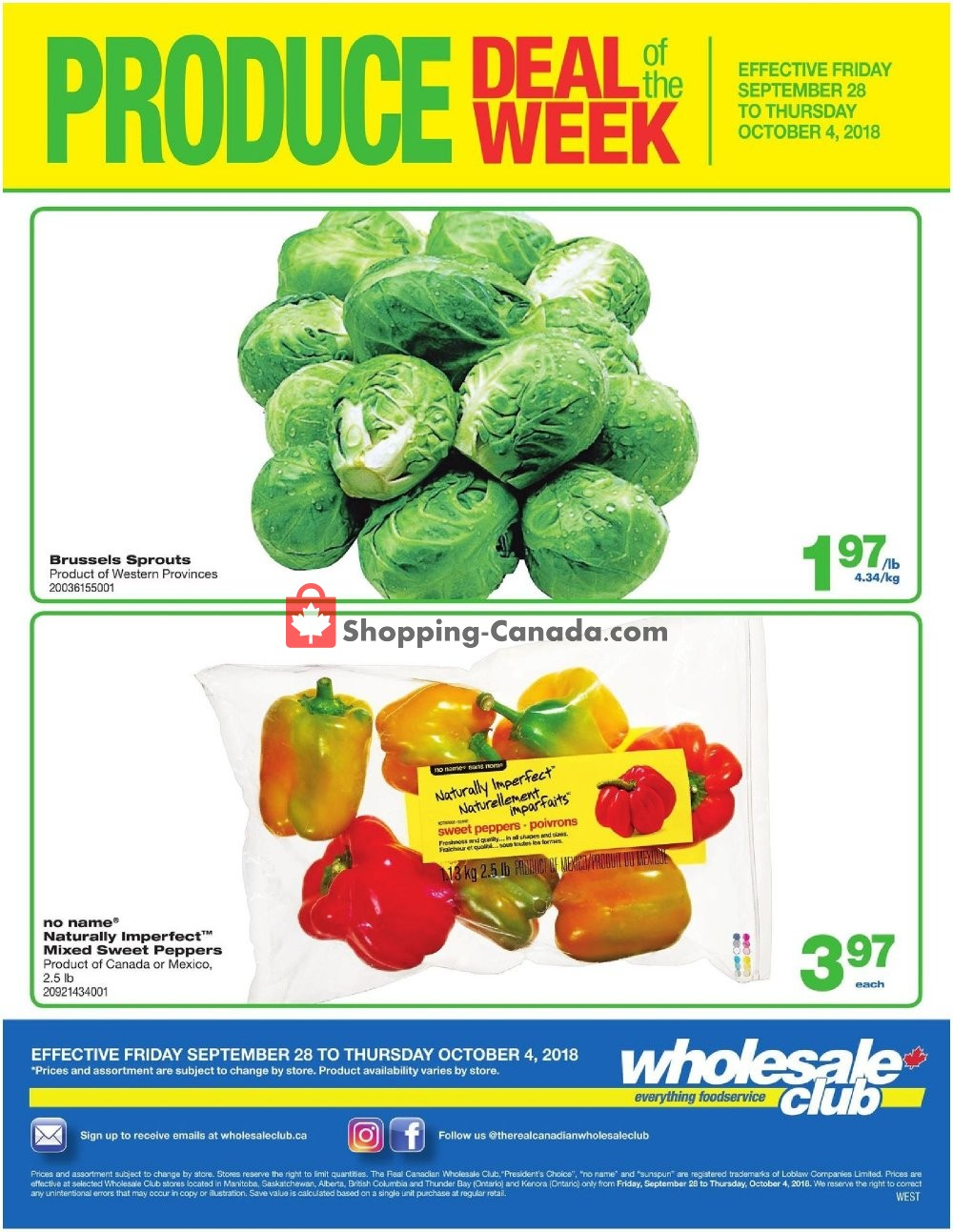 Flyer Wholesale Club Canada - from Friday September 28, 2018 to Thursday October 4, 2018