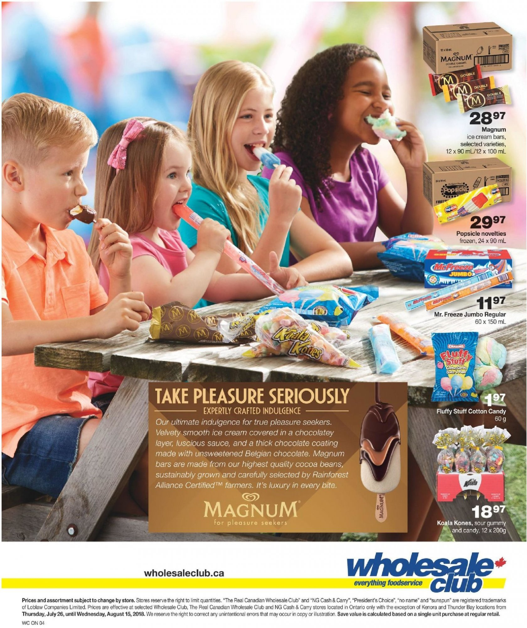 Flyer Wholesale Club Canada - from Thursday July 26, 2018 to Wednesday August 15, 2018