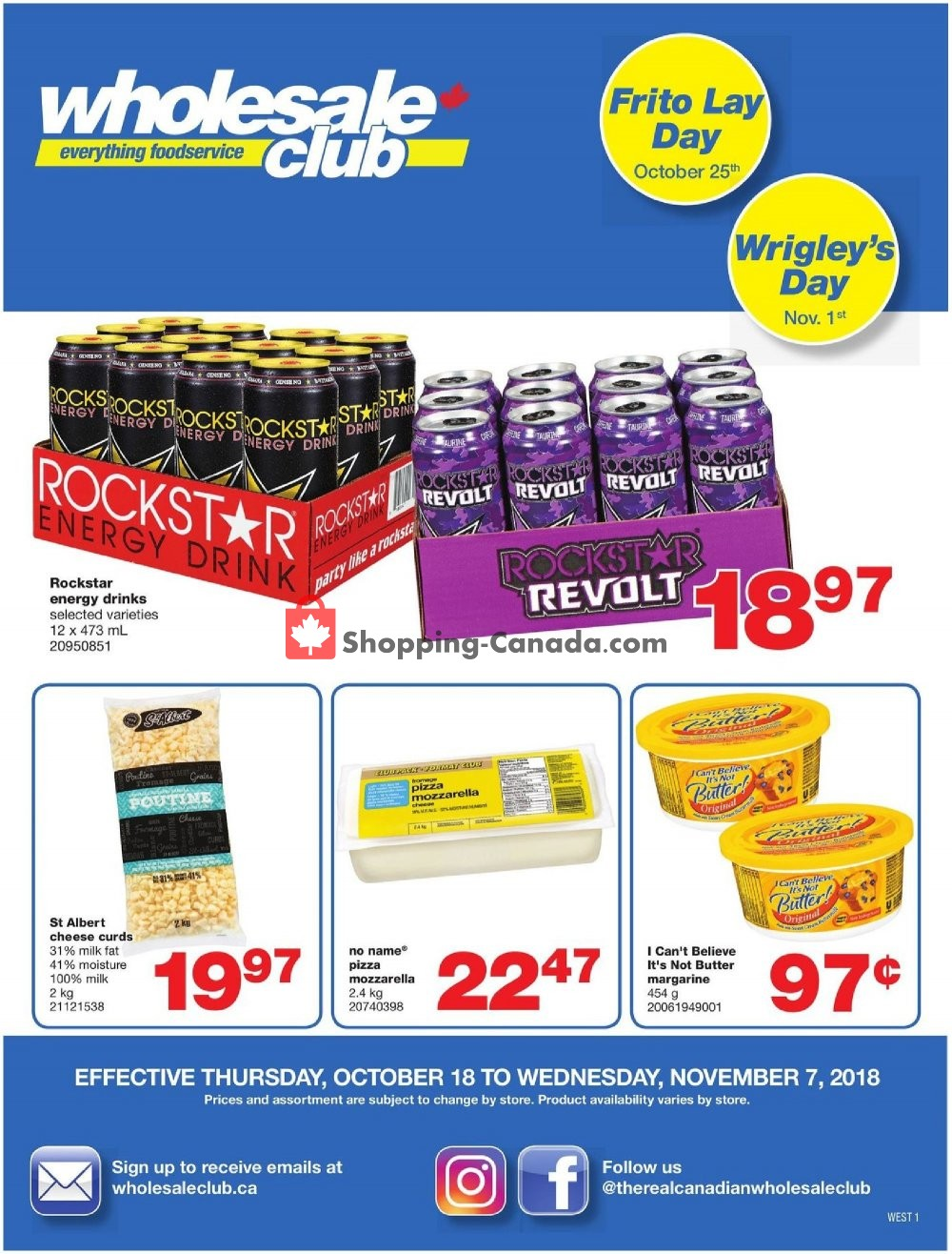 Flyer Wholesale Club Canada - from Thursday October 18, 2018 to Wednesday November 7, 2018