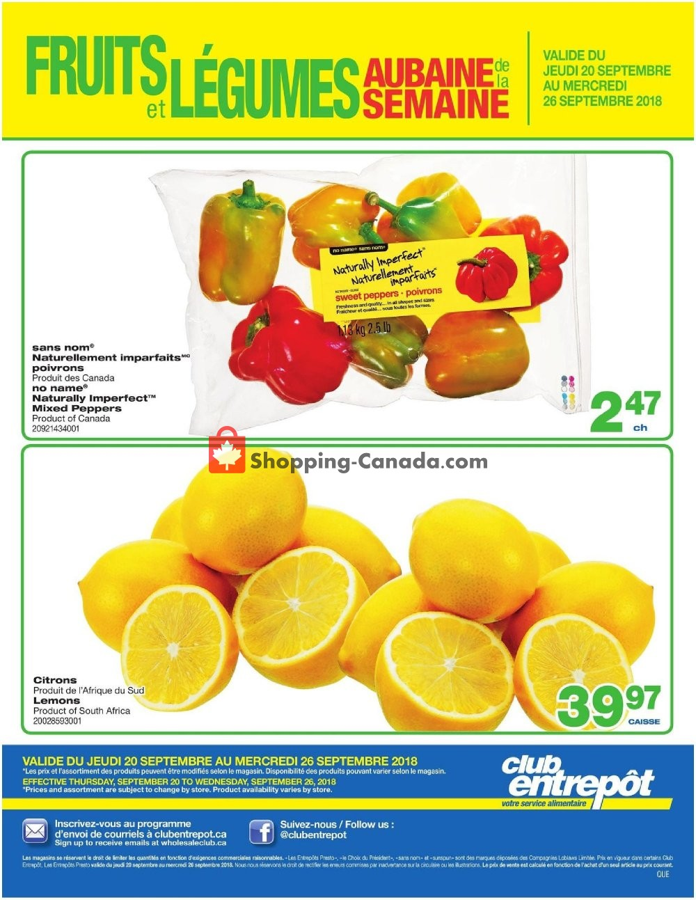 Flyer Wholesale Club Canada - from Thursday September 20, 2018 to Wednesday September 26, 2018