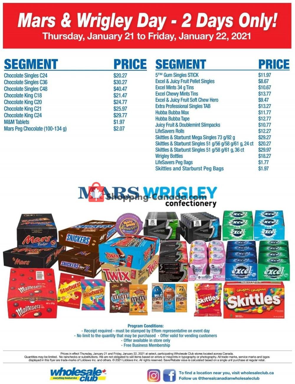 Flyer Wholesale Club Canada - from Thursday January 21, 2021 to Friday January 22, 2021