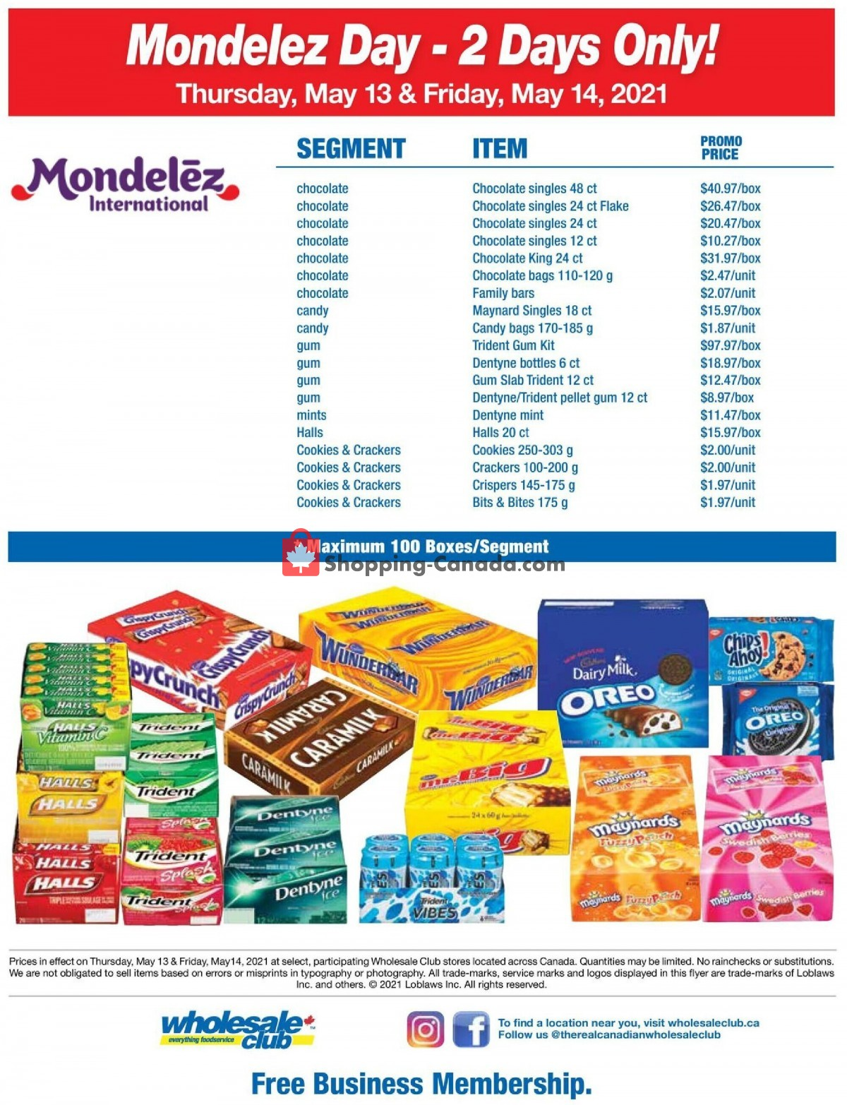 Flyer Wholesale Club Canada - from Thursday May 13, 2021 to Friday May 14, 2021