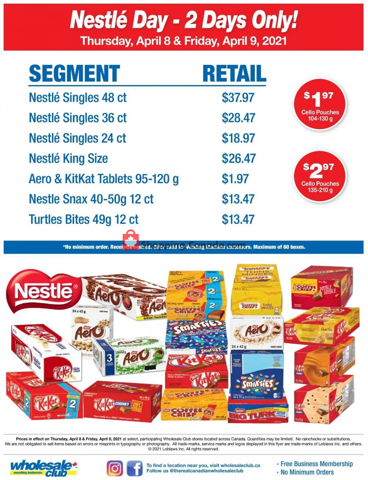 Flyer Wholesale Club Canada - from Thursday April 8, 2021 to Friday April 9, 2021