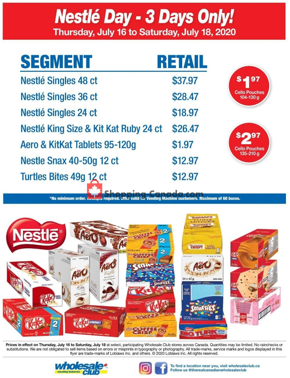 Flyer Wholesale Club Canada - from Thursday July 16, 2020 to Saturday July 18, 2020