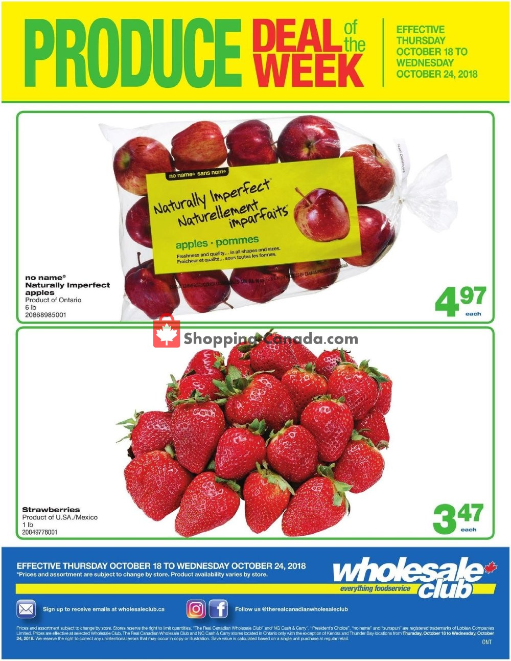 Flyer Wholesale Club Canada - from Thursday October 18, 2018 to Wednesday October 24, 2018