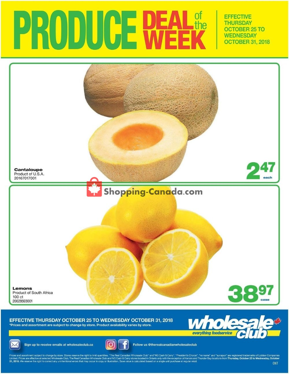 Flyer Wholesale Club Canada - from Thursday October 25, 2018 to Wednesday October 31, 2018