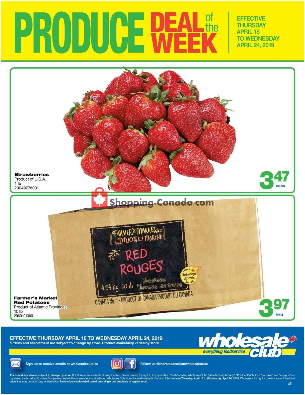 Flyer Wholesale Club Canada - from Thursday April 18, 2019 to Wednesday April 24, 2019