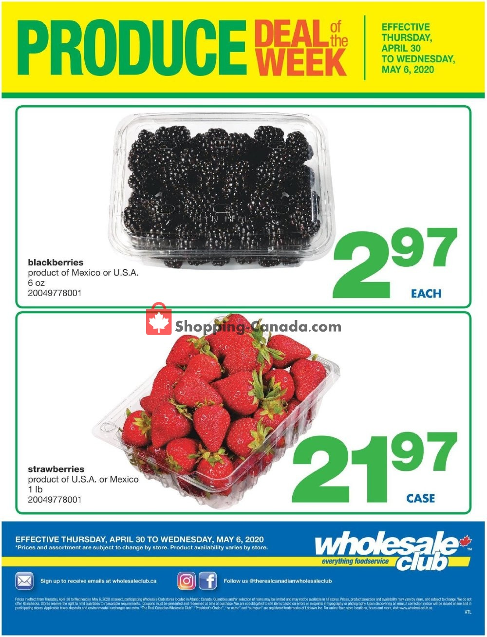 Flyer Wholesale Club Canada - from Thursday April 30, 2020 to Wednesday May 6, 2020