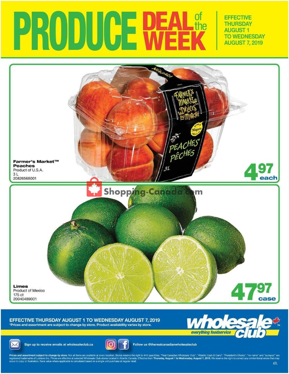 Flyer Wholesale Club Canada - from Thursday August 1, 2019 to Wednesday August 7, 2019