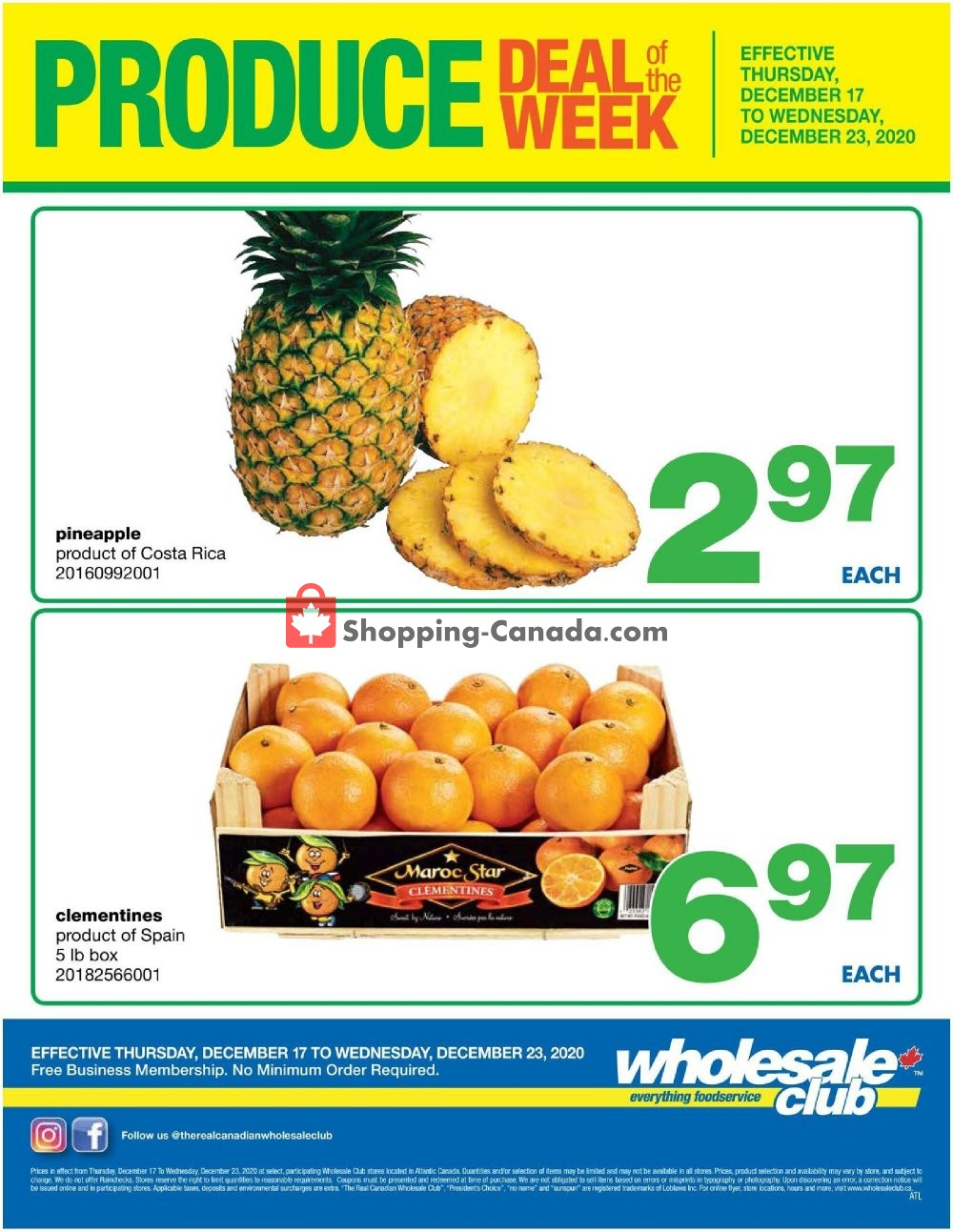 Flyer Wholesale Club Canada - from Thursday December 17, 2020 to Wednesday December 23, 2020
