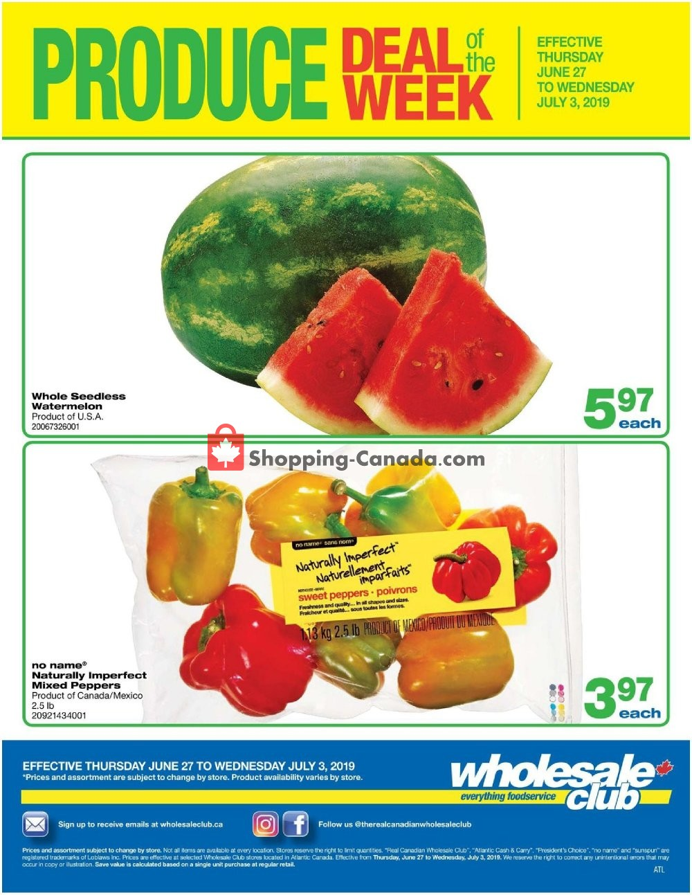 Flyer Wholesale Club Canada - from Thursday June 27, 2019 to Wednesday July 3, 2019