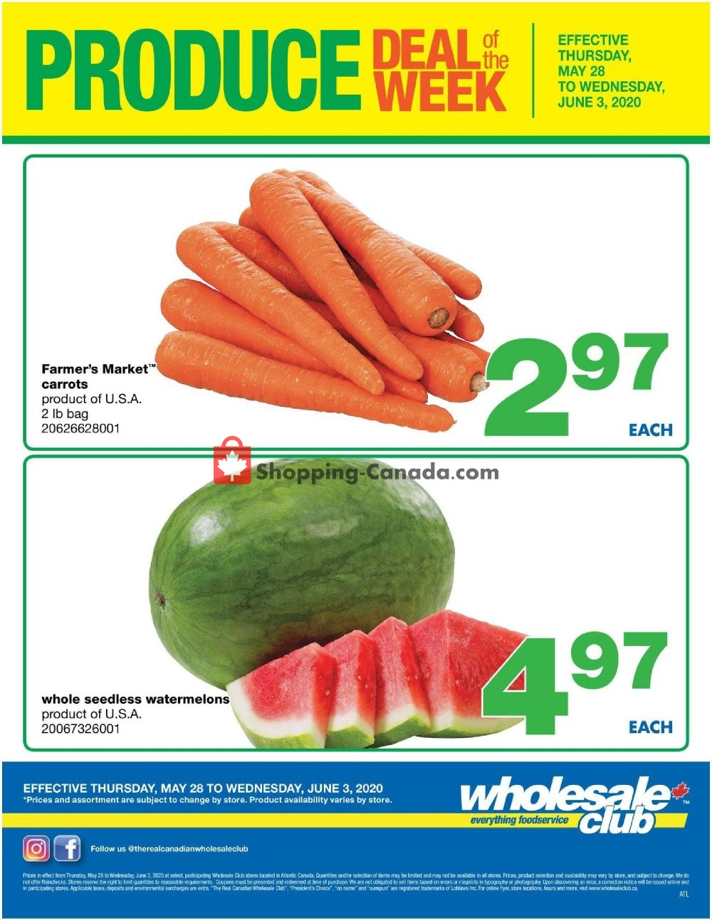 Flyer Wholesale Club Canada - from Thursday May 28, 2020 to Wednesday June 3, 2020