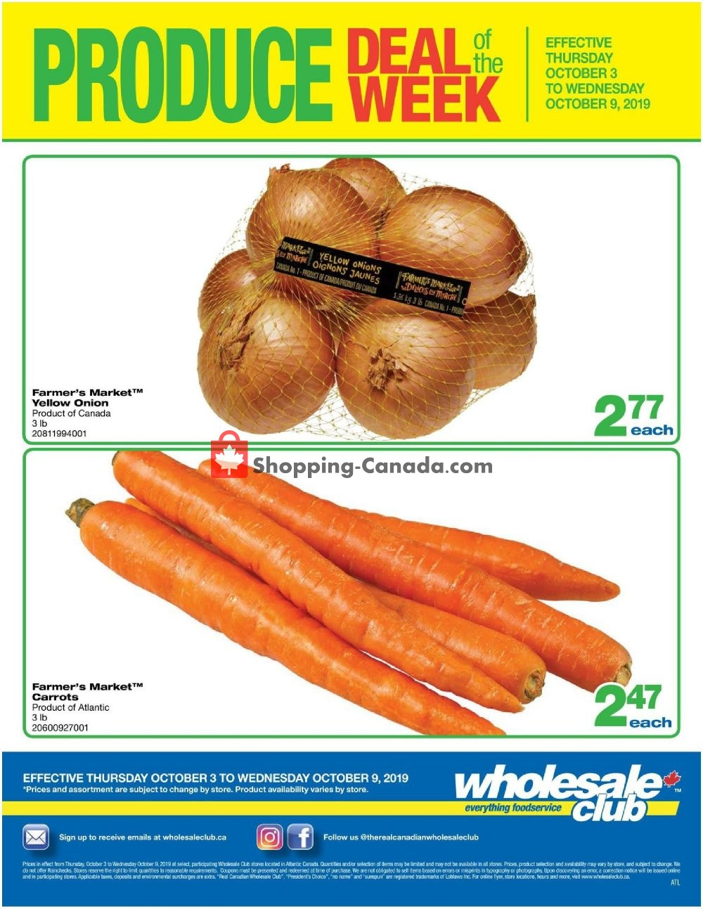 Flyer Wholesale Club Canada - from Thursday October 3, 2019 to Wednesday October 9, 2019