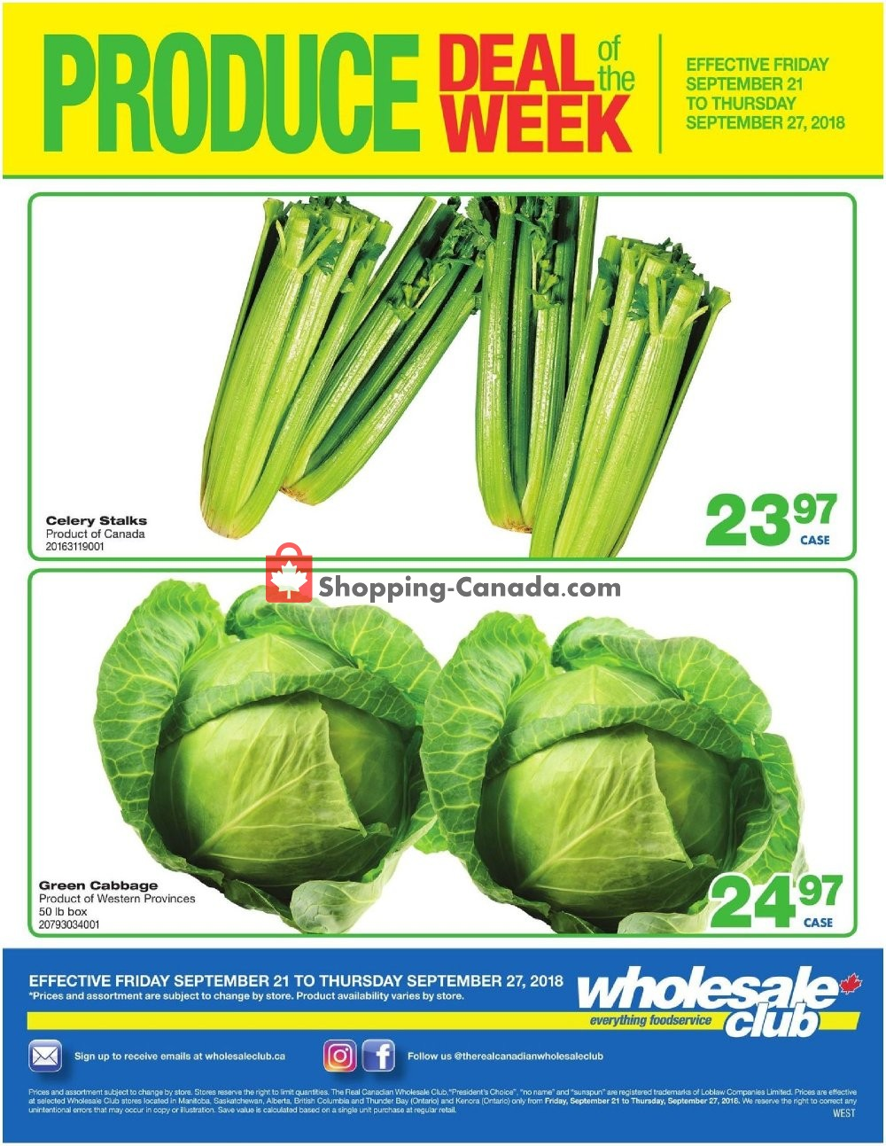 Flyer Wholesale Club Canada - from Friday September 21, 2018 to Thursday September 27, 2018