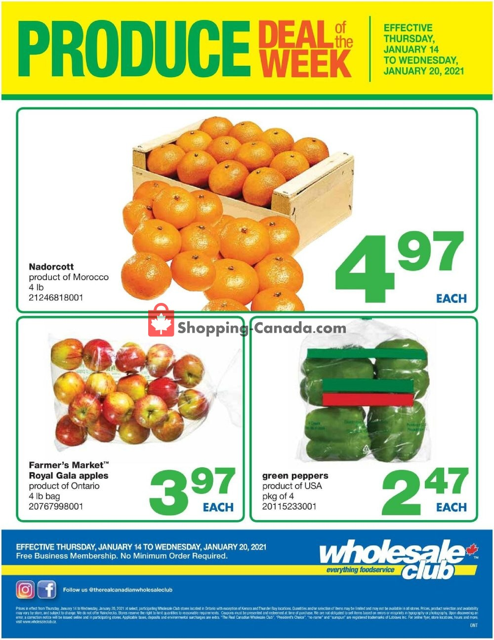 Flyer Wholesale Club Canada - from Thursday January 14, 2021 to Wednesday January 20, 2021