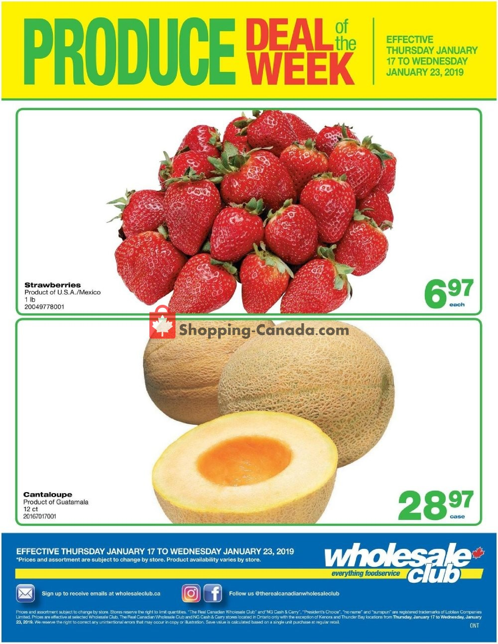 Flyer Wholesale Club Canada - from Thursday January 17, 2019 to Wednesday January 23, 2019