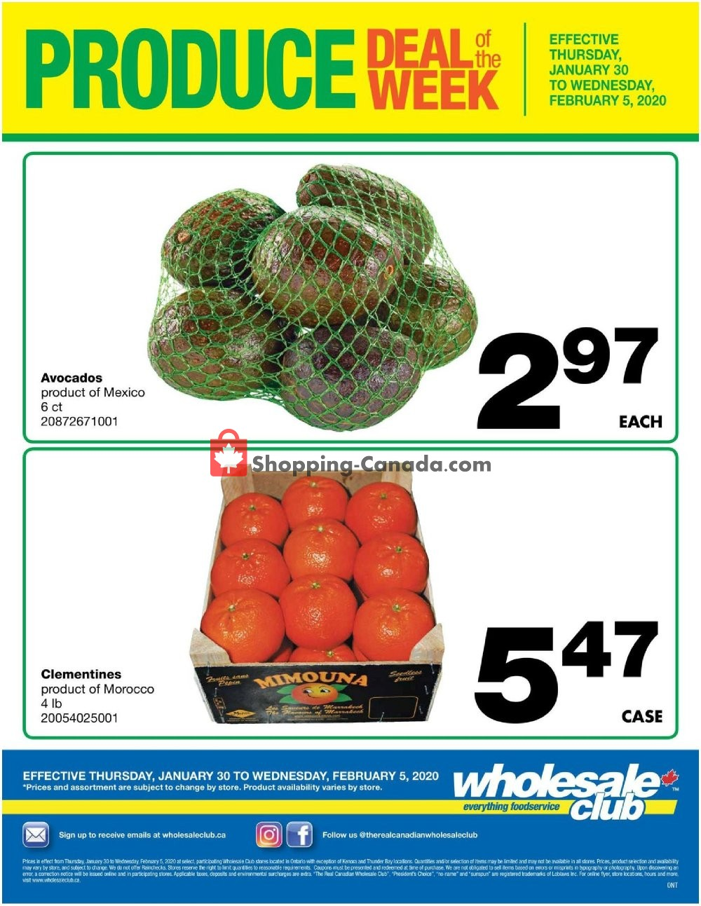 Flyer Wholesale Club Canada - from Thursday January 30, 2020 to Wednesday February 5, 2020