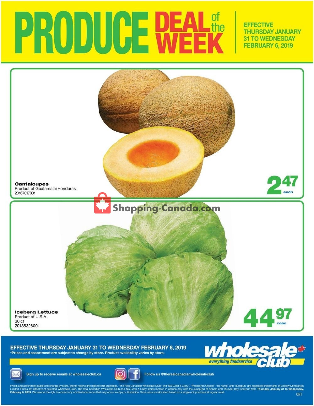 Flyer Wholesale Club Canada - from Thursday January 31, 2019 to Wednesday February 6, 2019