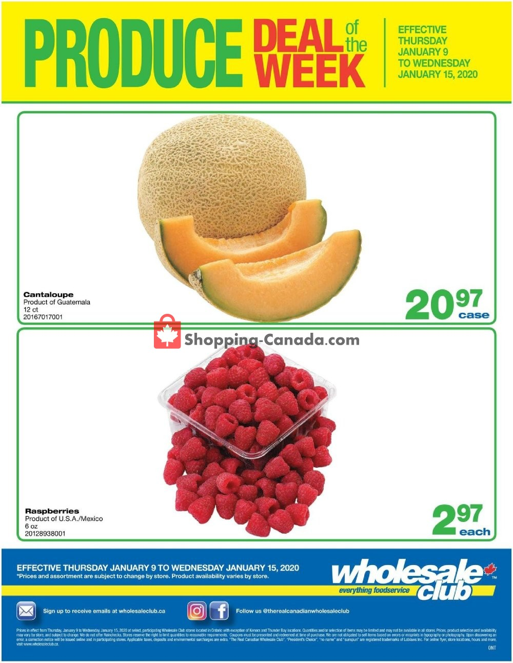Flyer Wholesale Club Canada - from Thursday January 9, 2020 to Wednesday January 15, 2020