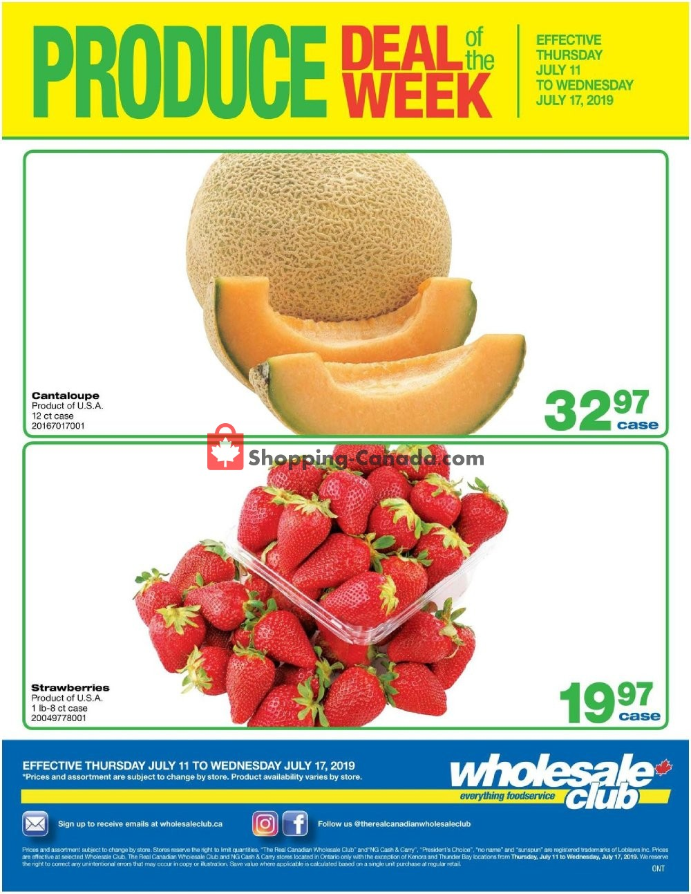 Flyer Wholesale Club Canada - from Thursday July 11, 2019 to Wednesday July 17, 2019