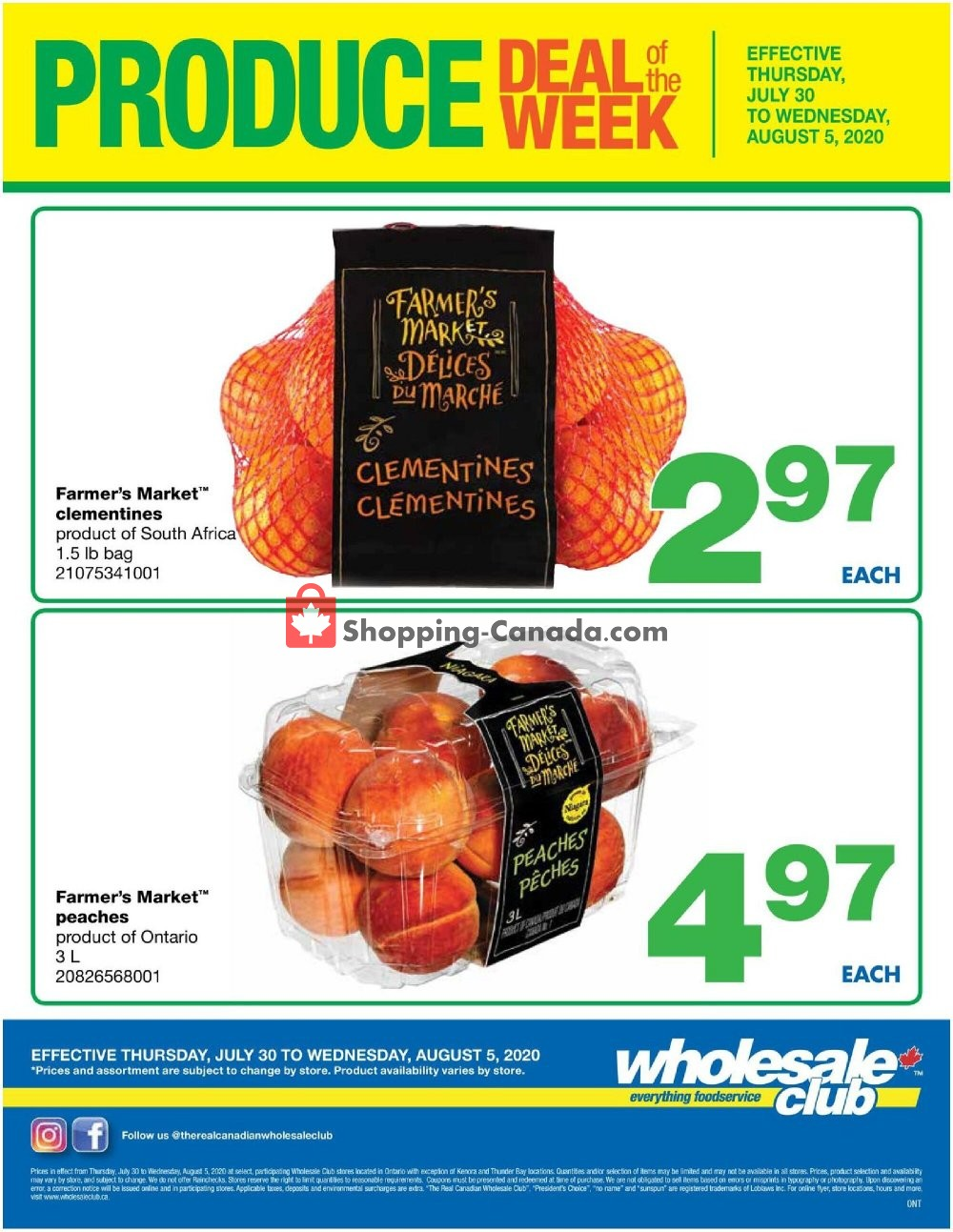 Flyer Wholesale Club Canada - from Thursday July 30, 2020 to Wednesday August 5, 2020