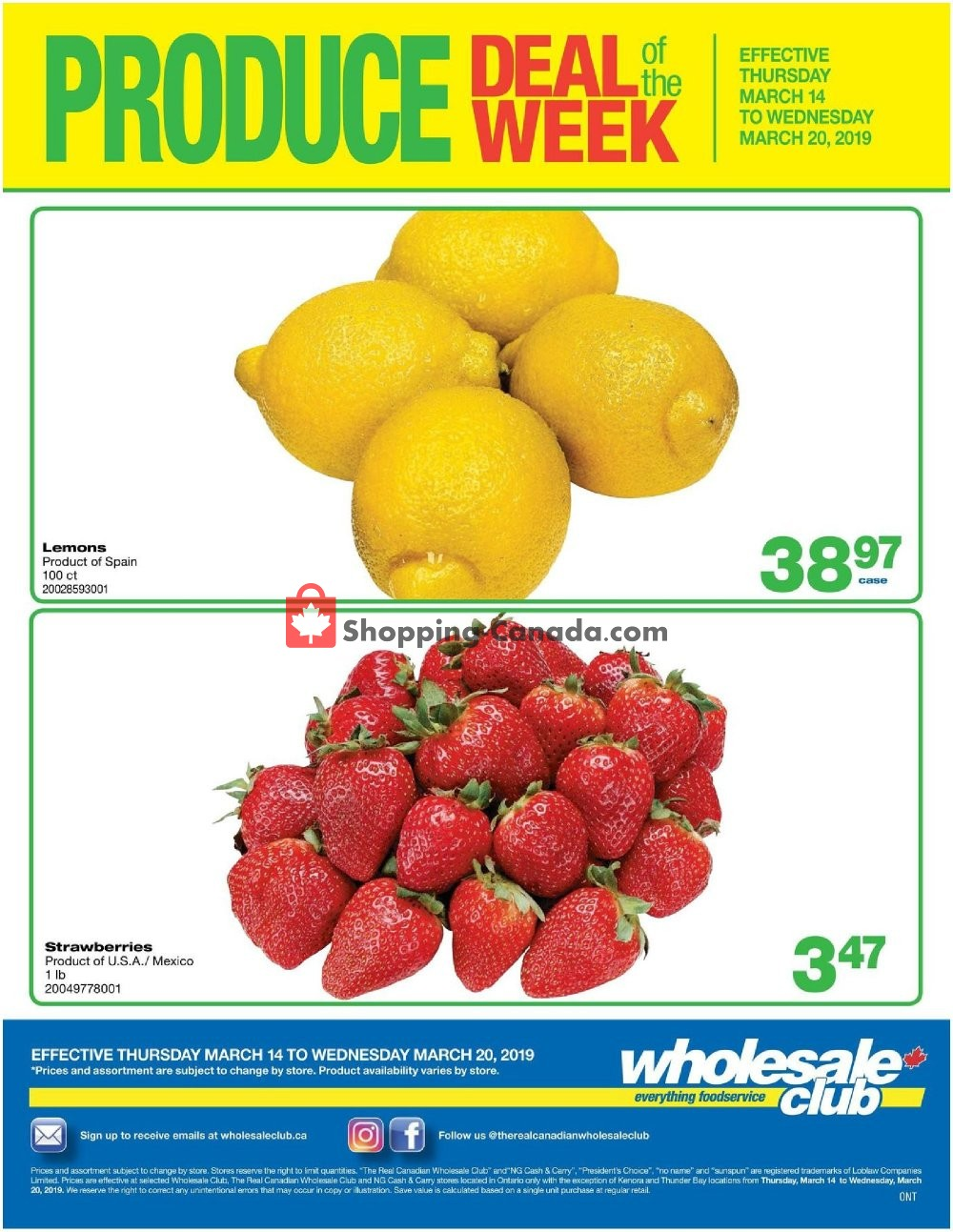 Flyer Wholesale Club Canada - from Thursday March 14, 2019 to Wednesday March 20, 2019