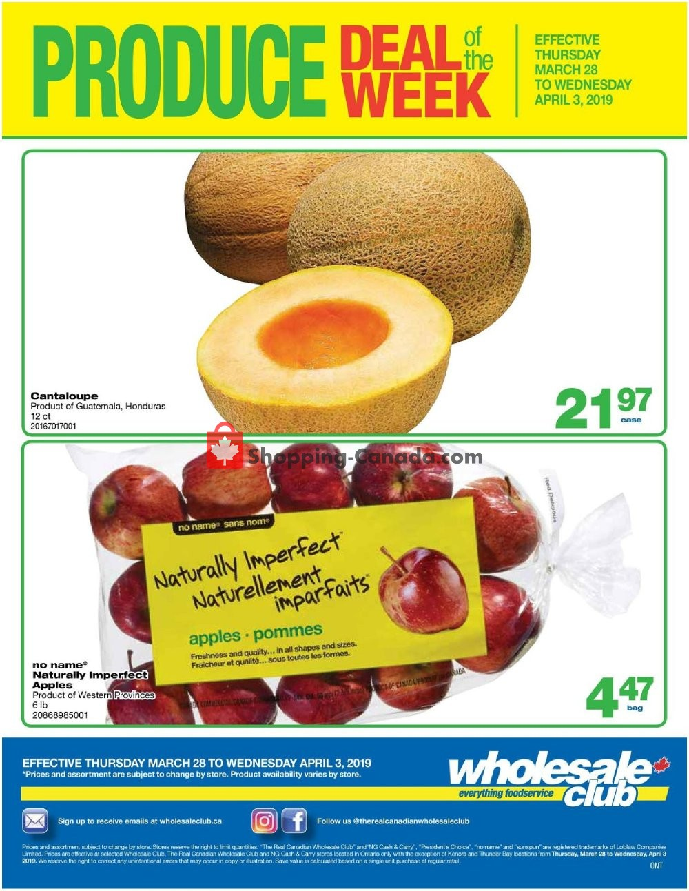 Flyer Wholesale Club Canada - from Thursday March 28, 2019 to Wednesday April 3, 2019