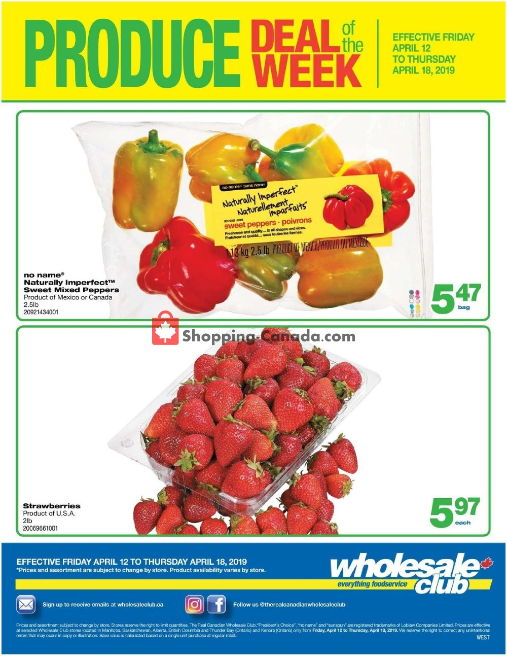Flyer Wholesale Club Canada - from Friday April 12, 2019 to Thursday April 18, 2019