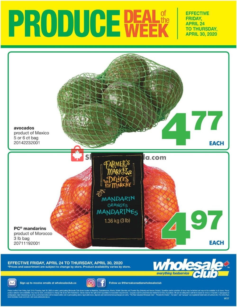 Flyer Wholesale Club Canada - from Friday April 24, 2020 to Thursday April 30, 2020