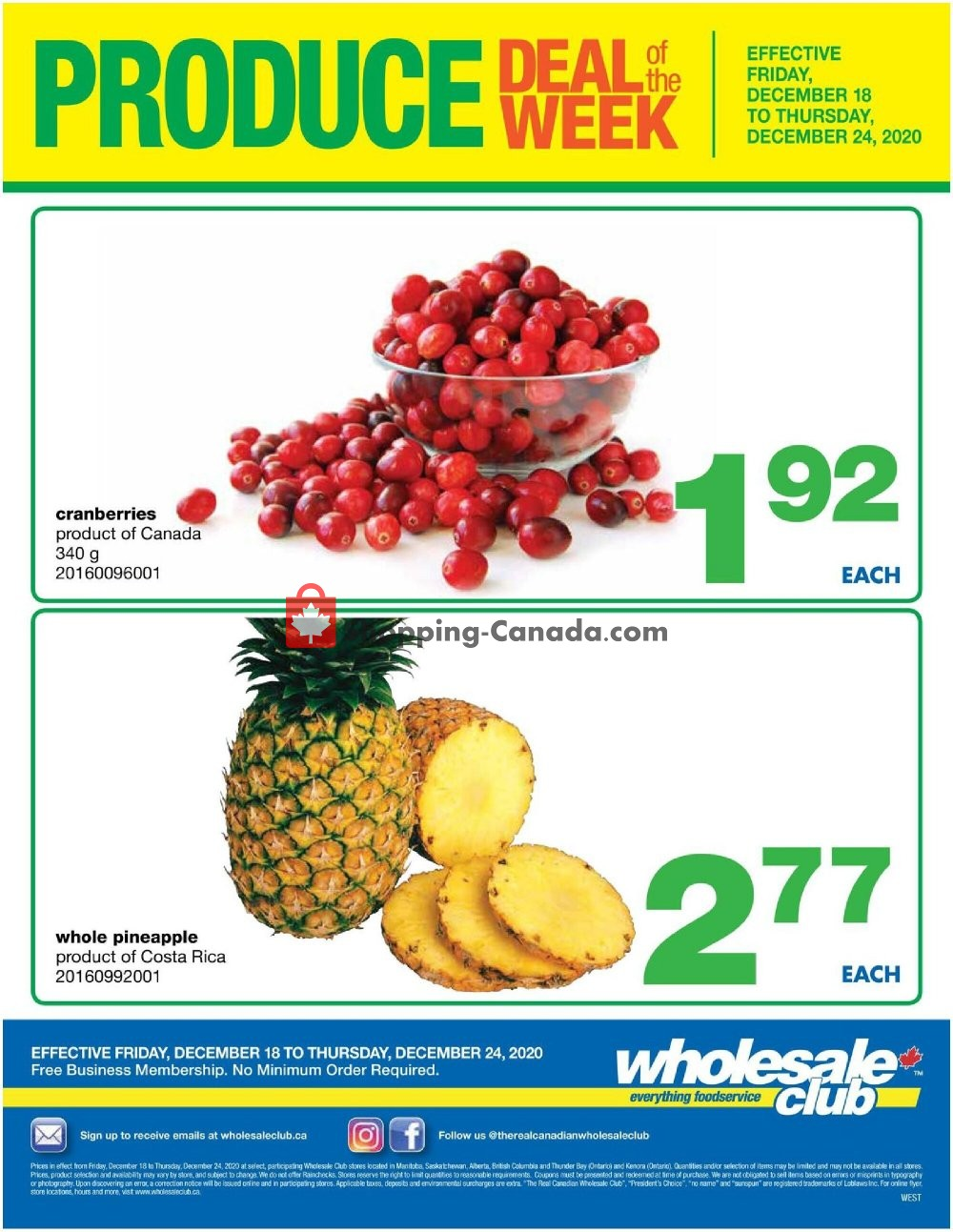 Flyer Wholesale Club Canada - from Friday December 18, 2020 to Thursday December 24, 2020
