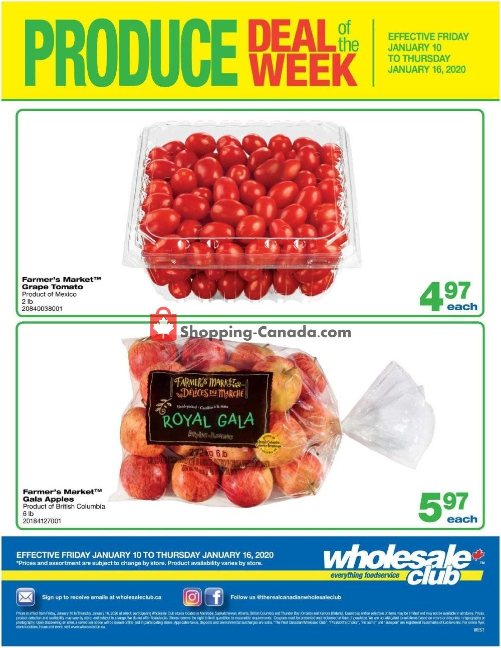 Flyer Wholesale Club Canada - from Friday January 10, 2020 to Thursday January 16, 2020