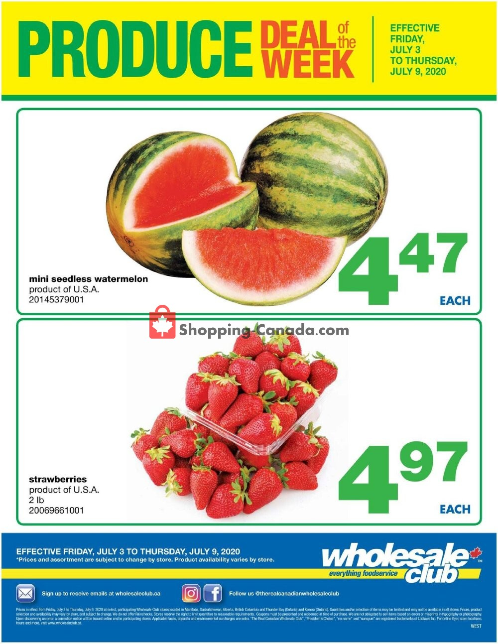 Flyer Wholesale Club Canada - from Friday July 3, 2020 to Thursday July 9, 2020