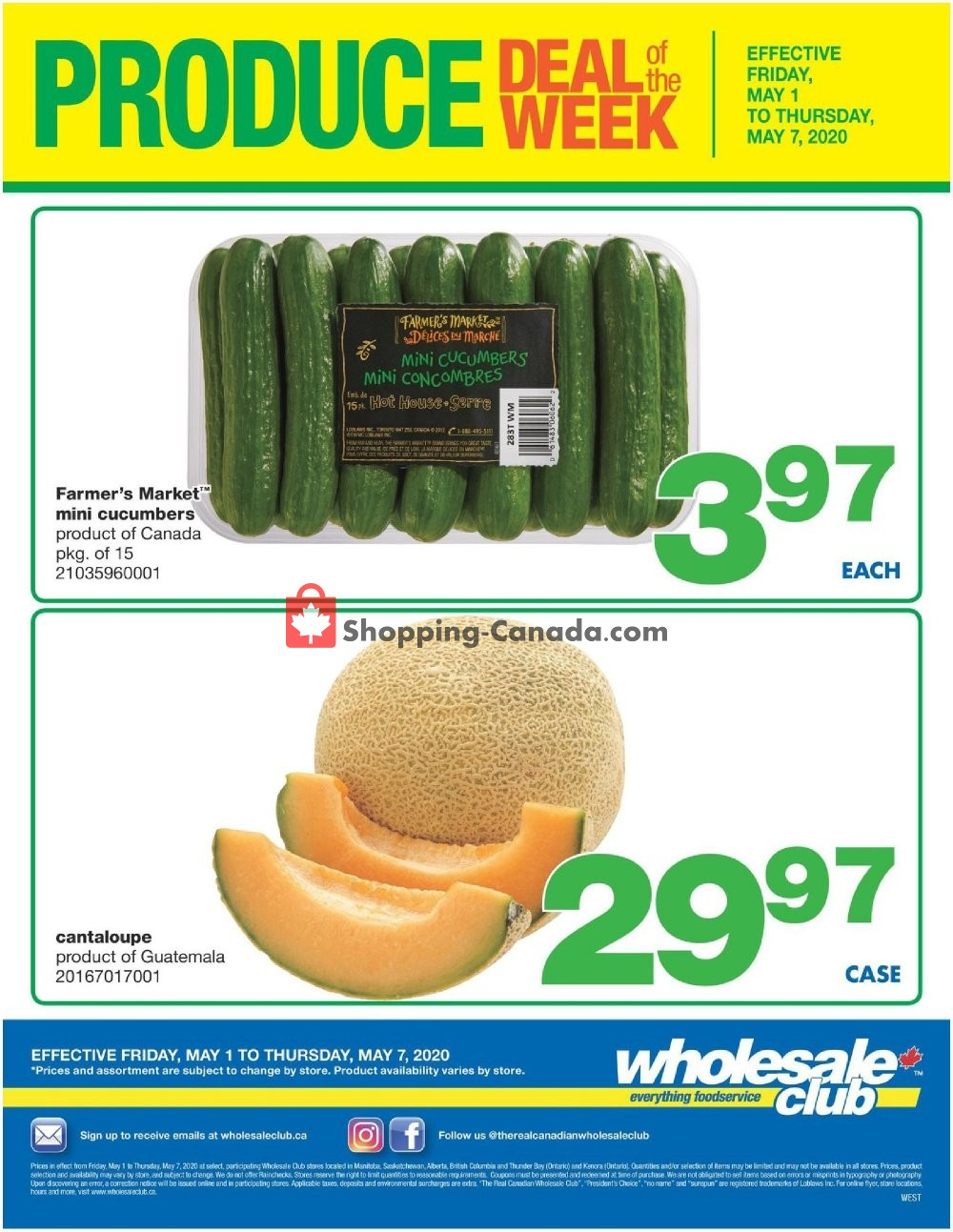 Flyer Wholesale Club Canada - from Friday May 1, 2020 to Thursday May 7, 2020