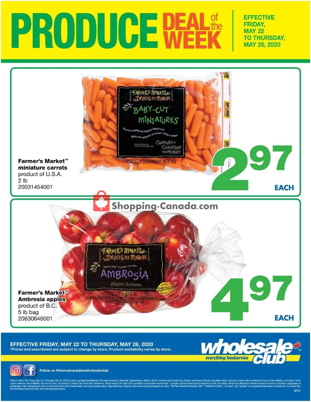 Flyer Wholesale Club Canada - from Friday May 22, 2020 to Thursday May 28, 2020