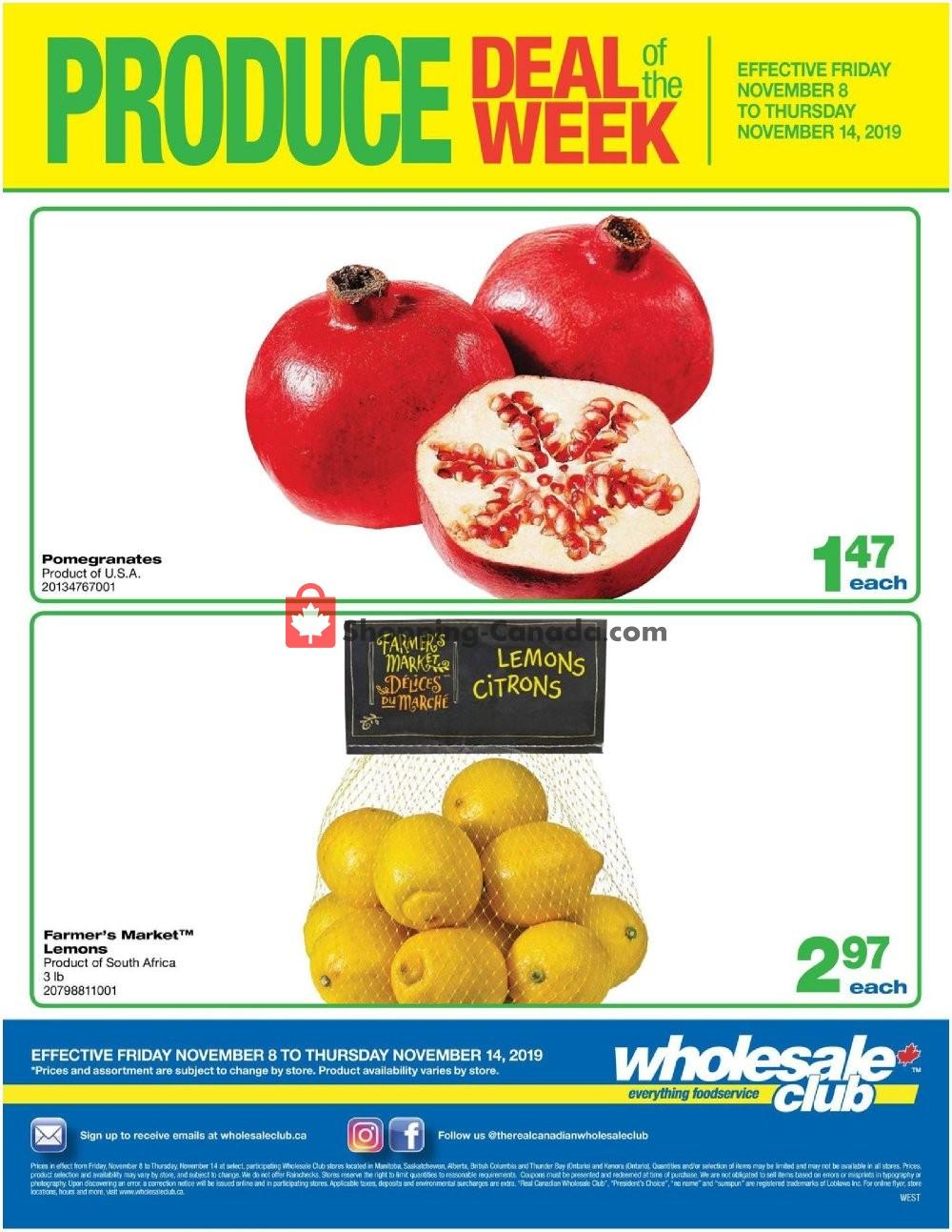 Flyer Wholesale Club Canada - from Friday November 8, 2019 to Thursday November 14, 2019