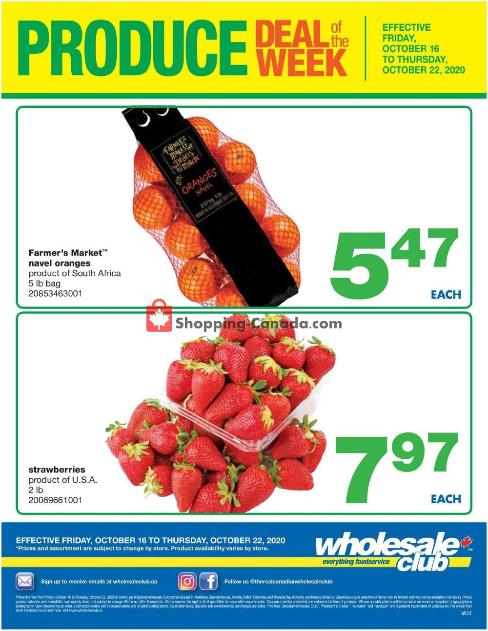 Flyer Wholesale Club Canada - from Friday October 16, 2020 to Thursday October 22, 2020