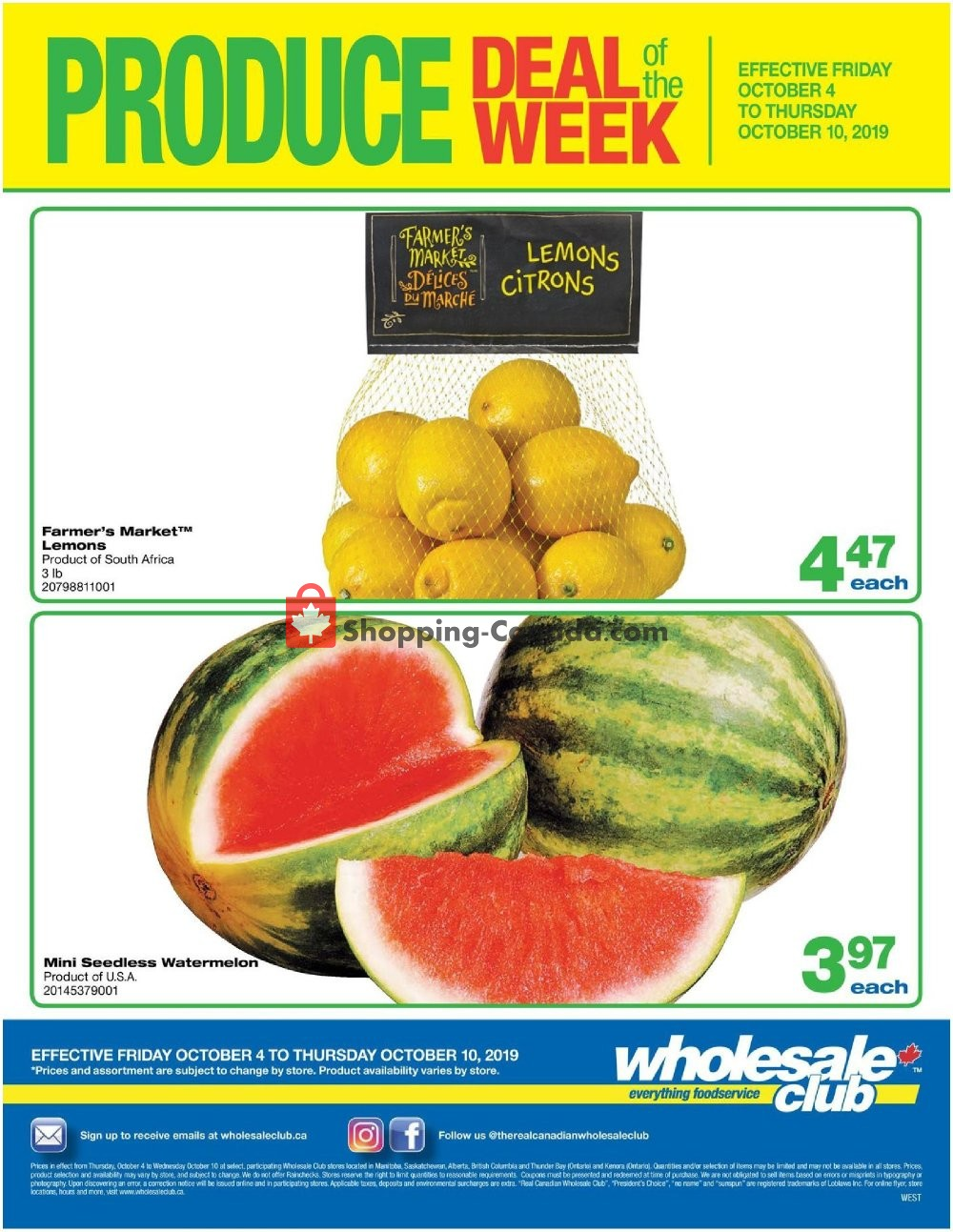 Flyer Wholesale Club Canada - from Friday October 4, 2019 to Thursday October 10, 2019