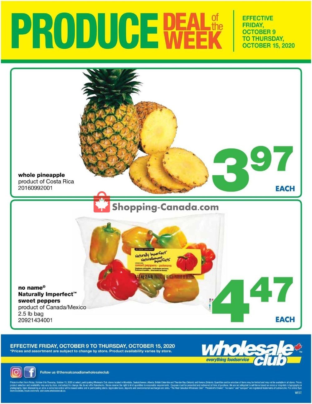 Flyer Wholesale Club Canada - from Friday October 9, 2020 to Thursday October 15, 2020