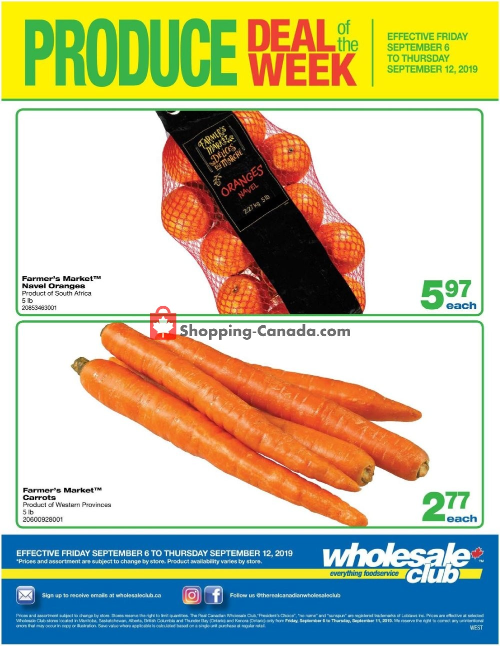 Flyer Wholesale Club Canada - from Friday September 6, 2019 to Thursday September 12, 2019