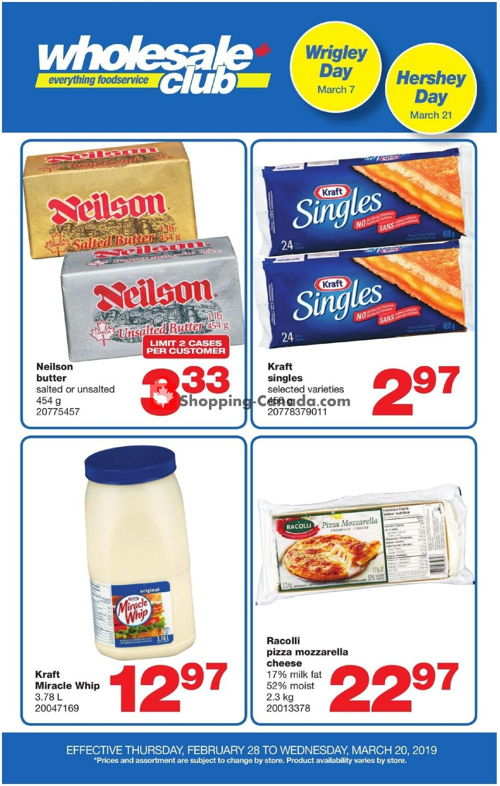 Flyer Wholesale Club Canada - from Thursday February 28, 2019 to Wednesday March 6, 2019