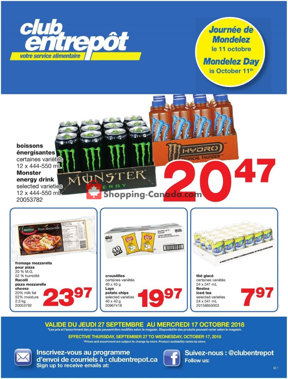 Flyer Wholesale Club Canada - from Thursday September 27, 2018 to Wednesday October 17, 2018