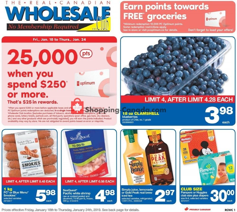 Flyer Wholesale Club Canada - from Friday January 18, 2019 to Thursday January 24, 2019