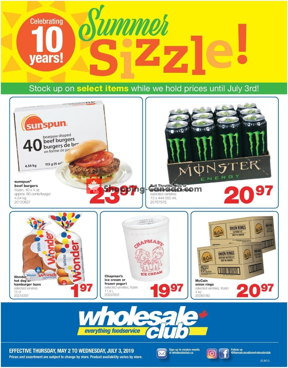 Flyer Wholesale Club Canada - from Thursday May 2, 2019 to Wednesday July 3, 2019