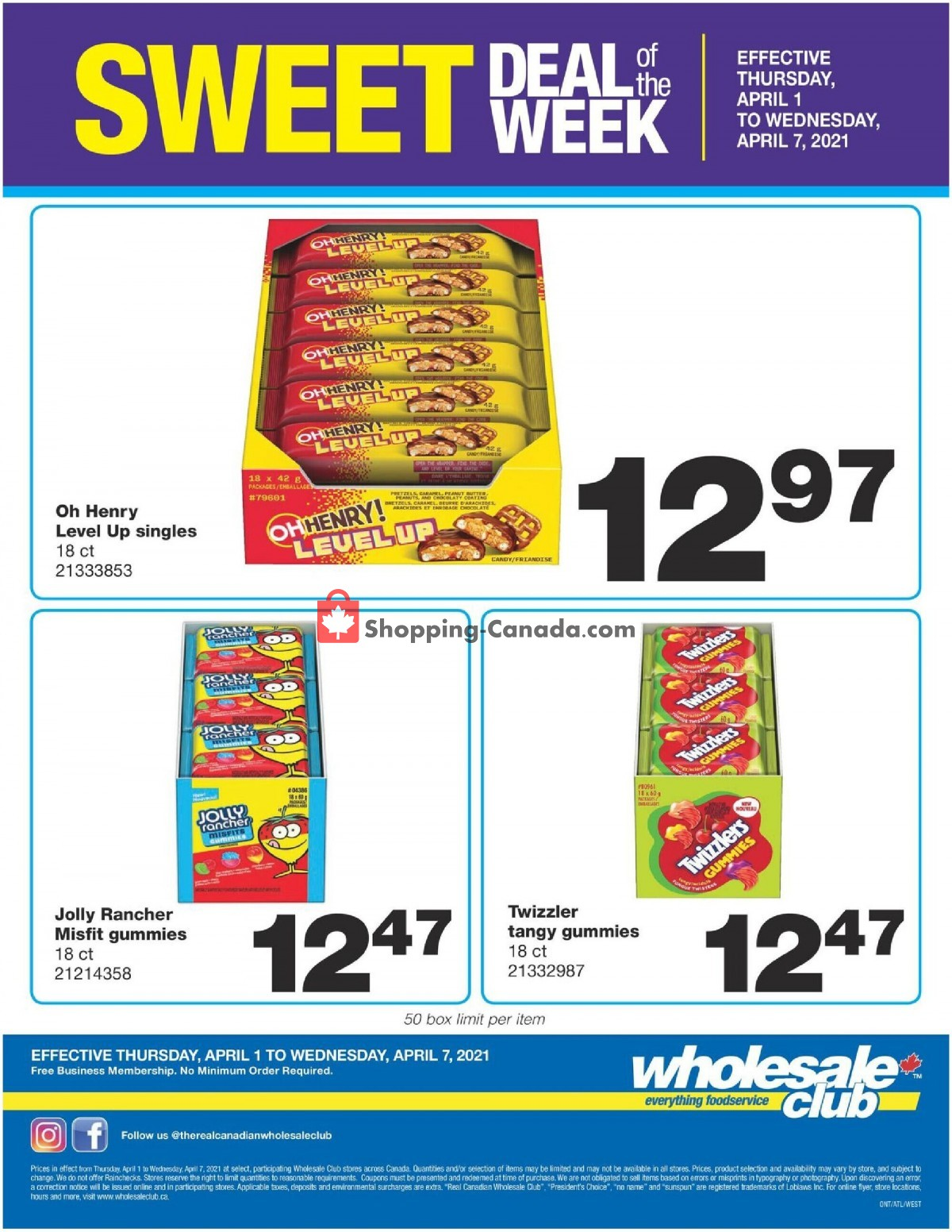 Flyer Wholesale Club Canada - from Thursday April 1, 2021 to Wednesday April 7, 2021