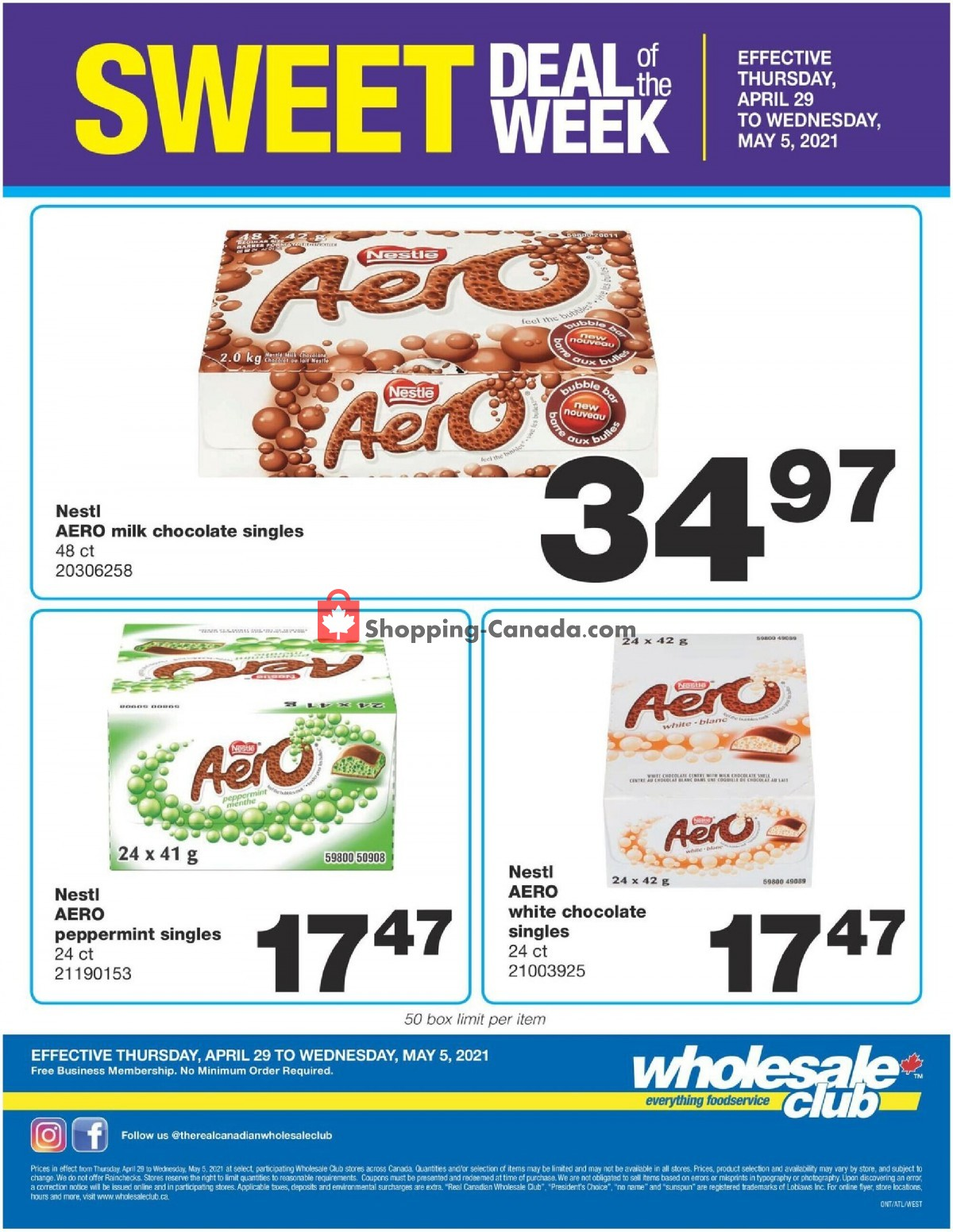 Flyer Wholesale Club Canada - from Thursday April 29, 2021 to Wednesday May 5, 2021