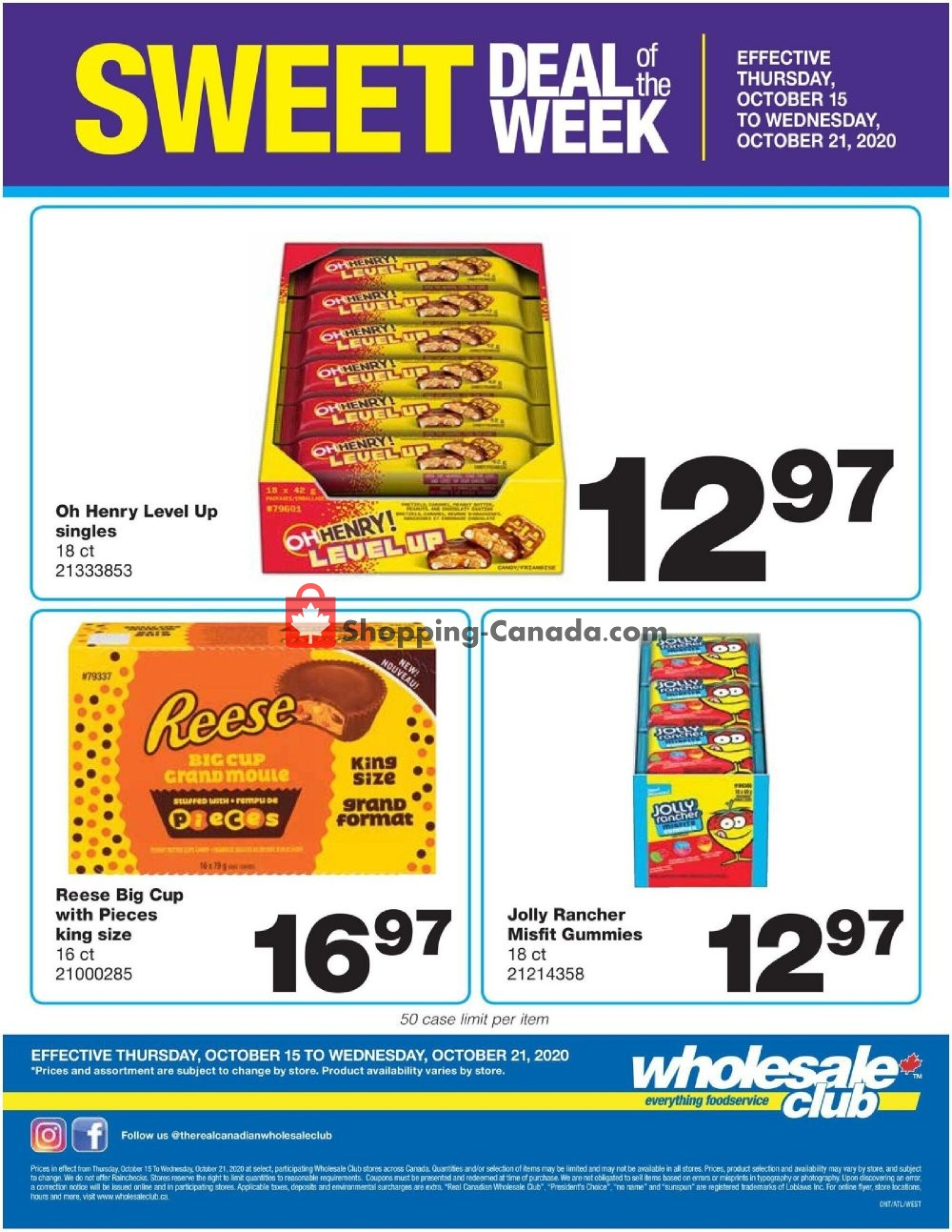 Flyer Wholesale Club Canada - from Thursday October 15, 2020 to Wednesday October 21, 2020